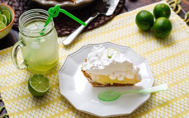 Фото обои коктейль, торт, лайм, напиток, крем
