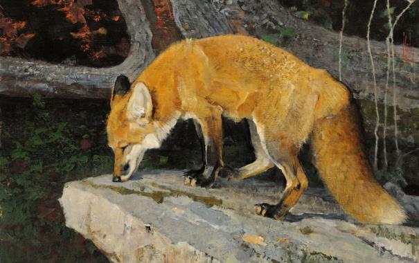 Фото обои лиса, камень, Bob Kuhn, хвост, рыжая, арт, картина