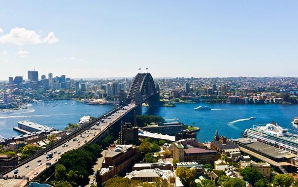 Фото обои мост, река, дома, Австралия, панорама, Сидней