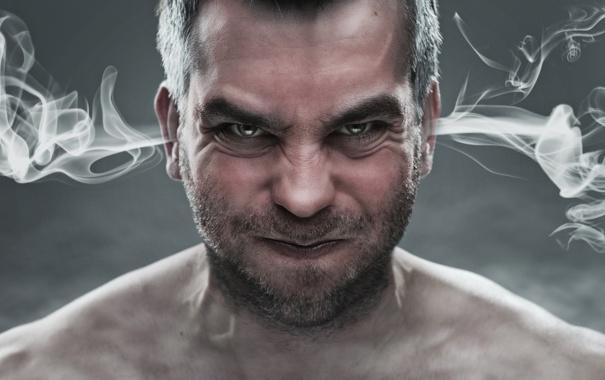 Фото обои дым, мужчина, щетина, дым из ушей