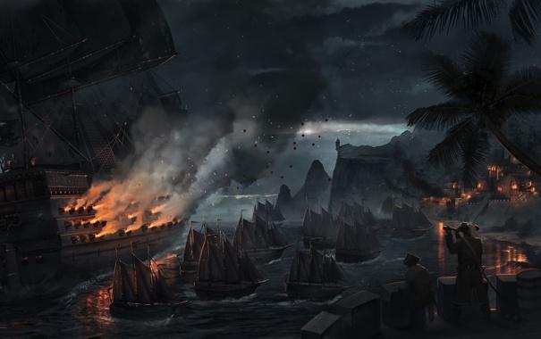 Фото обои море, ночь, город, пальмы, огонь, корабли, бухта