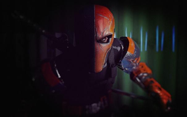 Фото обои взгляд, оружие, маска, арт, Batman: Arkham Origins, Slade Wilson, Batman: Летопись Аркхема