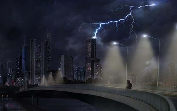 Фото обои ночь, город, молния, одинокий человек