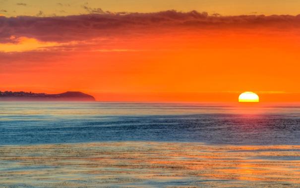 Фото обои море, небо, солнце, облака, закат
