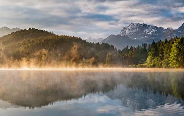 Фото обои небо, вода, деревья, горы, природа, озеро, отражение