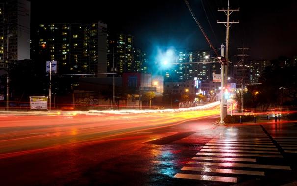Фото обои дорога, ночь, город, огни, улица, зебра