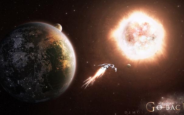Фото обои спутник, планеты, звездолет, звезда