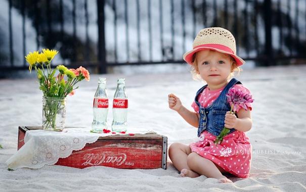 Фото обои цветы, настроение, девочка, coca cola