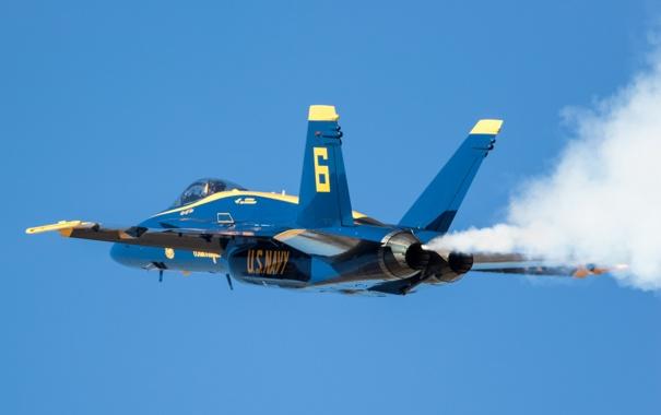 Фото обои полёт, F/A-18, Hornet, Blue Angels
