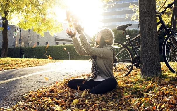 Фото обои девушка, свет, улица
