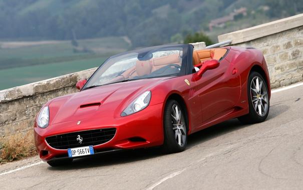 Фото обои дорога, авто, red, феррари, Ferrari California