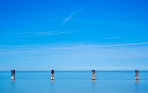 Фото обои море, пейзаж, опоры