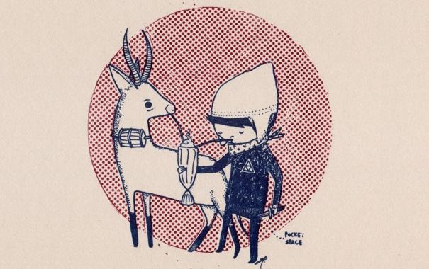 Фото обои фон, Рисунок, мальчик, нож, коктейль, платок, шапочка