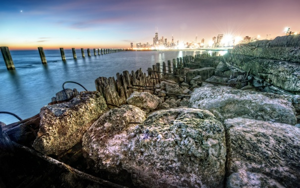 Фото обои закат, город, камни