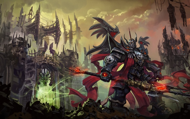 Фото обои замок, магия, доспехи, Воин, копье