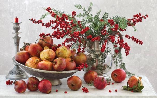 Фото обои ягоды, свеча, ваза, натюрморт, подсвечник, гранат
