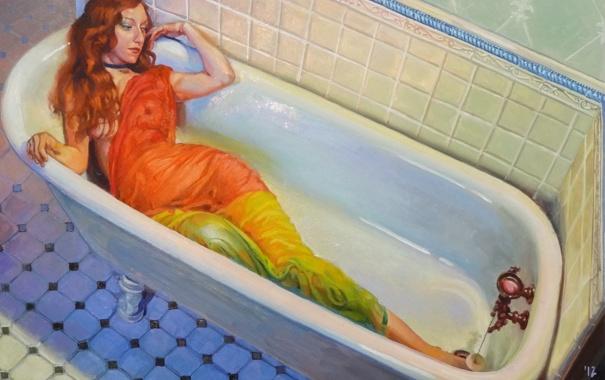 Фото обои вода, девушка, мокрая, арт, ванна, ткань, рыжая