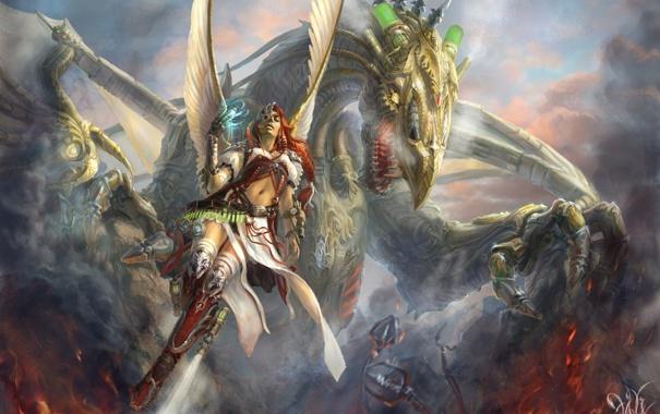 Фото обои девушка, облака, огонь, магия, дракон, крылья, фэнтези