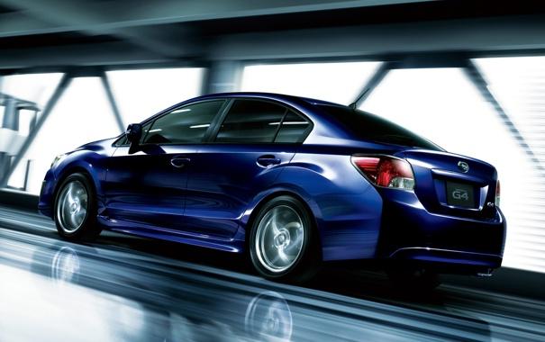 Фото обои машина, subaru, синяя, 2011, impreza, субару, едет