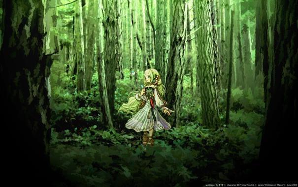 Фото обои лес, зеленый, красиво, анимэ, дэвушка