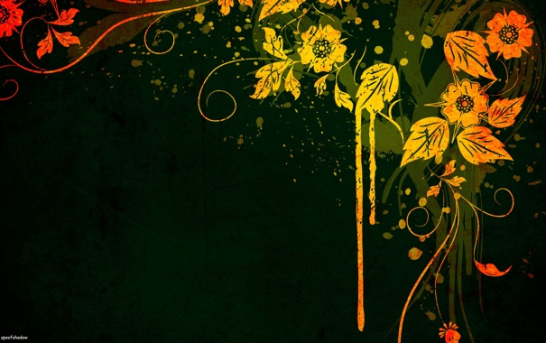 Фото обои цветы, желтый, зеленый