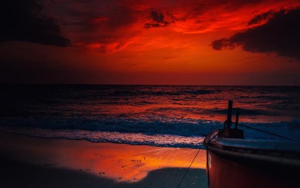 Фото обои море, небо, облака, закат, тучи, лодка
