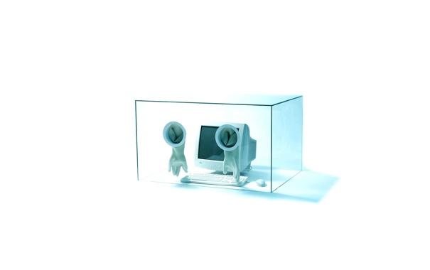 Фото обои стекло, перчатки, монитор, клава, стерильно