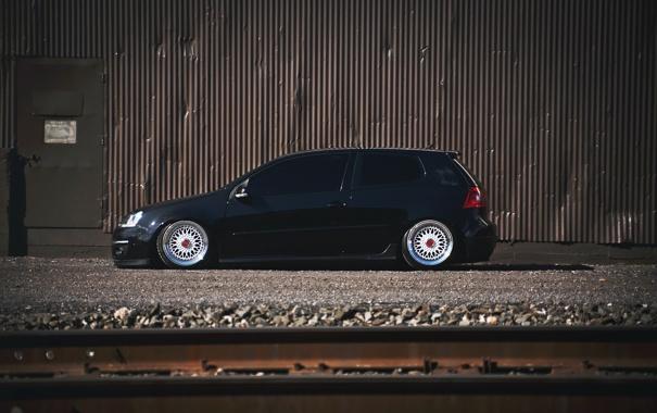 Фото обои черный, тюнинг, volkswagen, профиль, гольф, golf, фольксваген