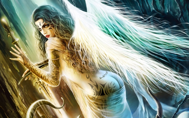 Фото обои Девушка, крылья, ангел, меч, щупальца, татуировки, слизь
