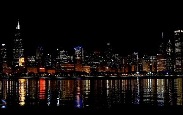 Фото обои ночь, город, огни, река, небоскребы, Чикаго, США