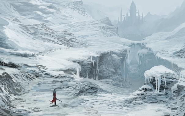 Фото обои зима, снег, замок, меч, арт, ущелье, путник