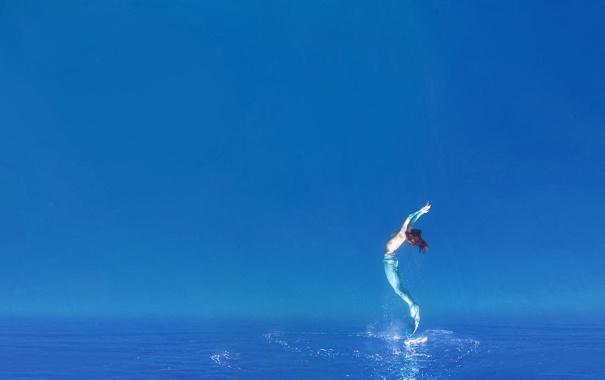 Фото обои море, небо, русалочка