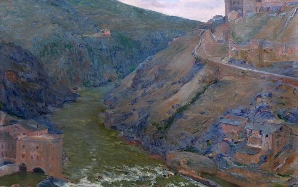 Фото обои пейзаж, горы, река, дома, картина, Испания, Толедо