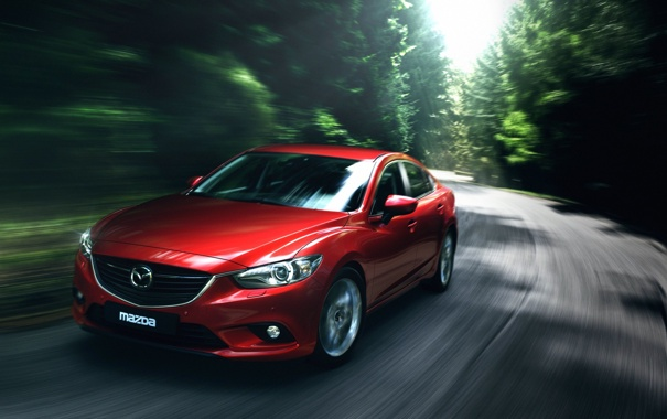 Фото обои car, Mazda 6, Green, Road, Sedan, Motion, Blur