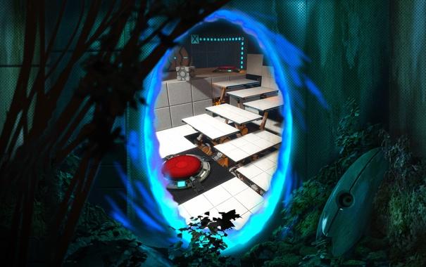 Фото обои portal, blue, sentry