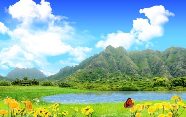 Фото обои зелень, небо, трава, вода, облака, цветы, горы