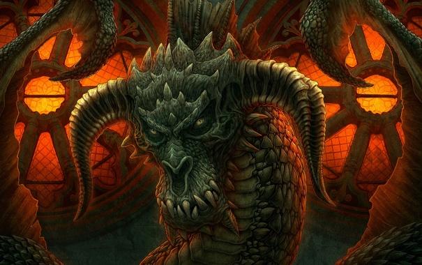 Фото обои огонь, магия, мрак, дракон, игра, фэнтези, Kerem Beyit
