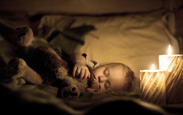 Фото обои настроение, сон, свечи, ребёнок