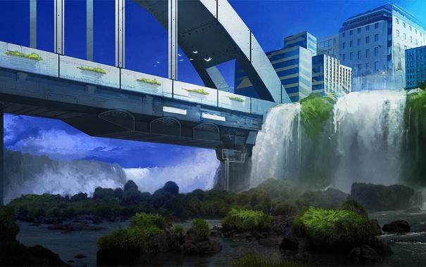 Фото обои птицы, мост, город, камни, заросли, арт, водопады