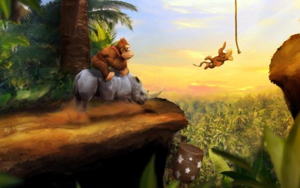 Фото обои горилла, обезьяны, Носорог, donkey kong