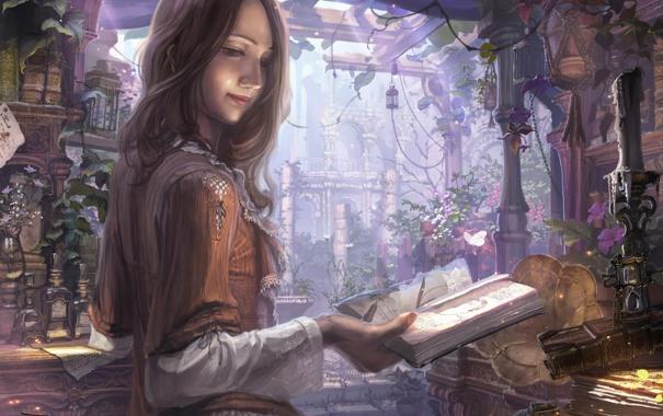 Фото обои девушка, бабочки, цветы, пузырьки, книги, свеча, арт