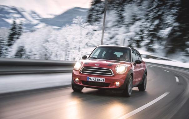 Фото обои Красный, Зима, Авто, Дорога, Машина, Асфальт, Фары