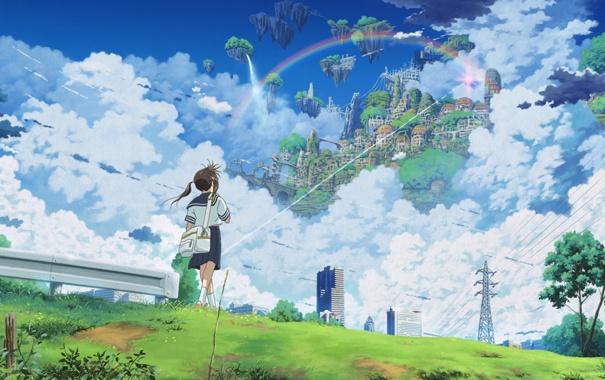 Фото обои небо, город, isai shizuka