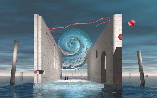Фото обои вода, люди, стены, ракушка
