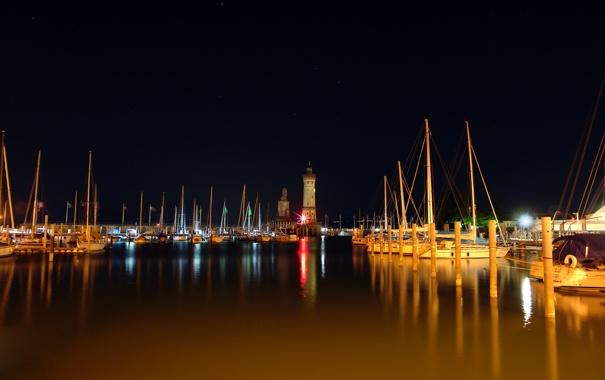 Фото обои вода, фото, пейзажи, лодки, катера, ночные города