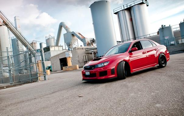 Фото обои Subaru, Impreza, WRX, red, седан, красная, субару
