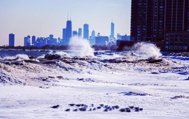 Фото обои зима, волны, снег, небоскребы, Чикаго, USA, Chicago