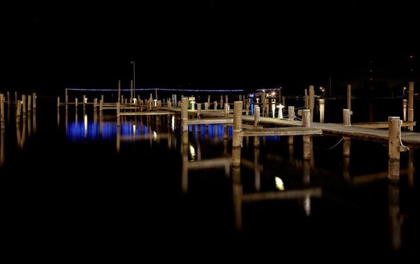 Фото обои ночь, мост, озеро