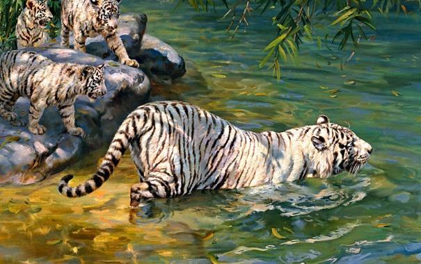 Фото обои живопись, тигры, реки, Donald Grant, альбиносы