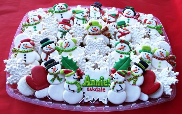 Фото обои снежинки, новый год, печенье, сладости, снеговики, Christmas, выпечка
